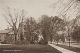 Peters Hall, Carnegie Library, and Memorial Arch, ca. 1914