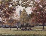 Class meeting on Tappan Square by Memorial Arch and Peters Hall, ca. 1979