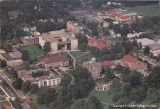 Postcard aerial view of Oberlin College campus, ca. 1970s