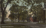 Tinted postcard view of Oberlin College campus, ca. 1910s