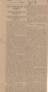 Newspaper clippings from the Times, 6 September 1919