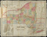 Map of the State of New York showing the boundaries of Counties and Townships, the location of...