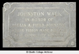 Plaque in honor of Adelia A. Field Johnston (1837-1910)