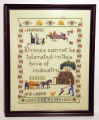 "Set of 8 framed cross-stitch embroidery samplers, ""Learning and Labor,""  honoring..."