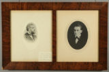 Two photographs of James Monroe (1821-1898) in a double frame, at ages 20 and 47