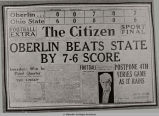 NEWSPAPER FRONT PAGE FROM 1921 VICTORY OF OBERLIN COLLEGE FOOTBALL TEAM OVER OSU