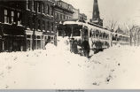 STRANDED TROLLEY CARS DURING THE 1913 OBERLIN OHIO SNOWSTORM