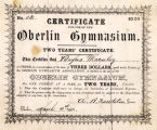 STOCK CERTIFICATE IN THE OBERLIN GYMNASIUM, 1861